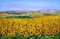 Mi immergo nel sole..dei girasoli - olio a spatola su tela. dim. cm. 60x40 - anno 2011 by Carla Colombo